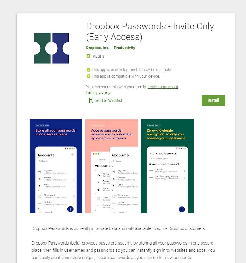 מנהל סיסמאות לאנדרואיד - Dropbox Passwords