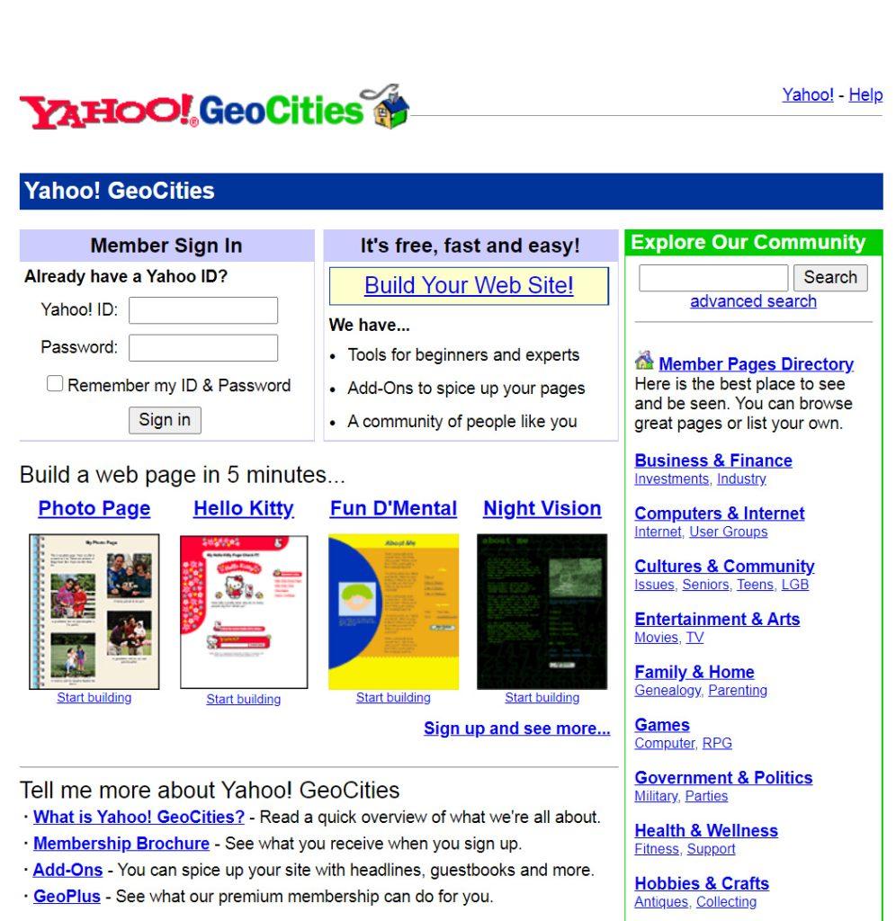 geocities, המקום להיות בו בשנת 2000