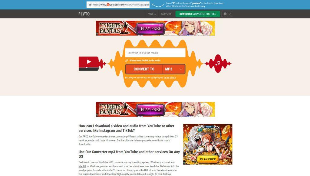 אתר האינטרנט flvto.biz. (צילום: עכשיו בטכנולוגיה)