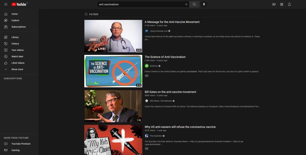 מתנגדי חיסונים יוטיוב Youtube   צילום מסך: עכשיו בטכנולוגיה
